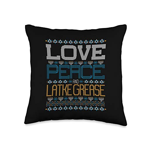BCC Santa's Christmas Shirts & Jolly Gifts Love Peace and Latke Grease Hanukkah Ugly Christmas Sweater Throw Pillow, 16x16, Multicolor