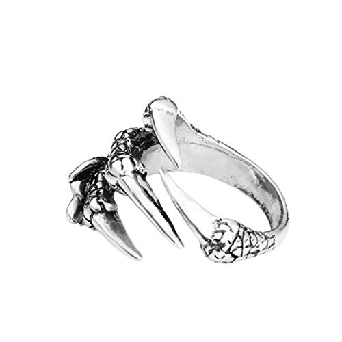 Yililay Halloween Goth Ring Stainless Steel Viking Punk Rock Dragon Claw Rings Metal Finger Rings with Open End