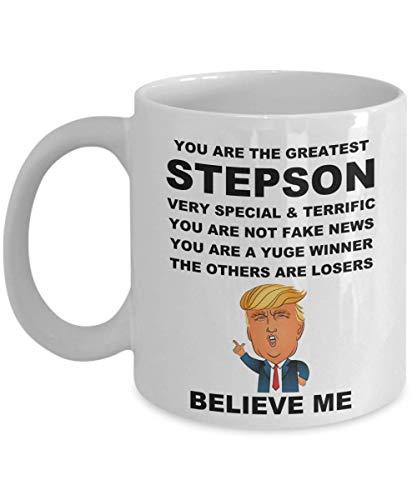 N\A Divertida Taza de Donald Trump para hijastro, Regalos de papá, mamá, Padre, cumpleaños, Navidad, Hombres, Taza de café Yuge