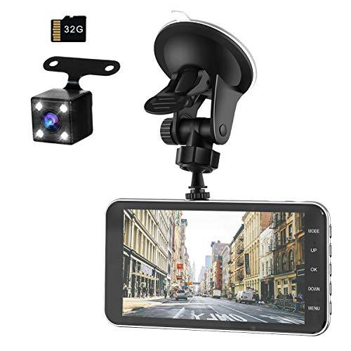 【令和モデル】 前後カメラ ドライブレコーダー 32GB SDカード付き デュアルドライブレコーダー1080PフルHD 1800万画素 LEDライト付き 170°広視野角 SONYセンサー/レンズ 常時録画 G-sensor( WDR)日本語説明書付き (ブラック)