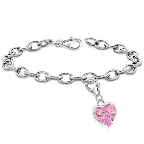 Bettelarmband mit Charm 925er Echt Sterlingsilber Anhänger Damen Kinder Mädchen (M1 Herz CZ Rosa / 7mm, 16)
