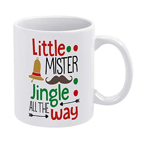 Little Mister Jingle All The Way - Taza de café de cerámica, diseño de bebés y niños, color blanco, 325 ml, regalo de cumpleaños para hombres y mujeres
