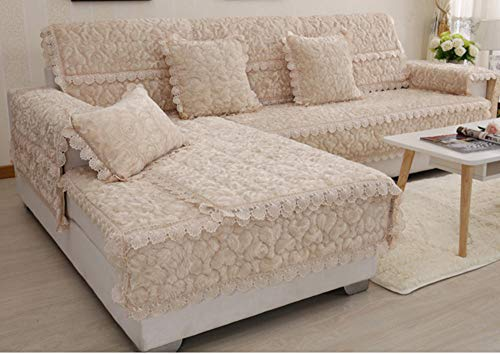 HXTSWGS Cojín de sofá de Invierno, cojín Acolchado Antideslizante, Funda de sofá de Estilo Europeo-Yellow_90 * 210cm