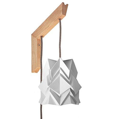 Luminaria de pared Origami - soporte de madera y pequeña pantalla blanca