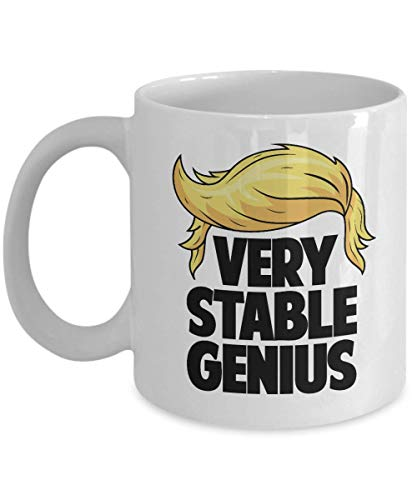 WTOMUG Very Stable Genius Funny Ceramic Coffee Tea Gift Mug Cup, Merchandise, Memorabilia, Deacutecor,Ornament, Items and Accessories (11oz)