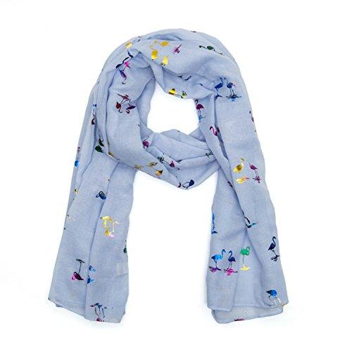 MANUMAR Bufanda unicolor para mujer| pañuelo fino azul claro con motivo de flamenco como accesorio perfecto para el verano | Bufanda mujer de tubo | Fular mujer infinita | idea del regalo