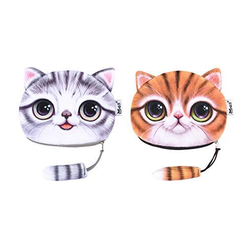 iSuperb 2pcs Mujer Mini Cartera,Lindo Monedero Peluche Monedero Forma de Cara de Gato con Cola Billetera Coin Purse (2 Piezas Amarillo + Gris)