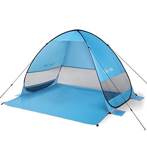 Glymnis Strandmuschel Pop Up Strandzelt UV Schutz 50+ Sonnenschutz für 2-5 Personen Blau