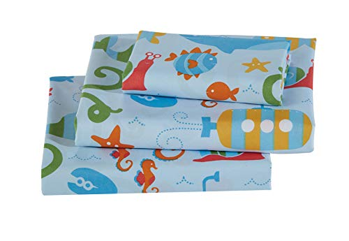 Luxury Home Collection Multicolor 3 Piece Twin Size Fun Design Print Sheet Set with Fitted, Flat and Pillow Case, Underwater Life Submarine Octopus Shark Star Fish Seahorse Crab Kids Bedding Sheets