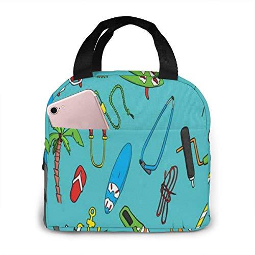 Hermosa tabla de windsurf, bolsa de almuerzo de windsurf, bolsa de almuerzo reutilizable aislante, caja de asas con bolsillo frontal con cierre de cremallera para mujer, hombre, trabajo, picnic