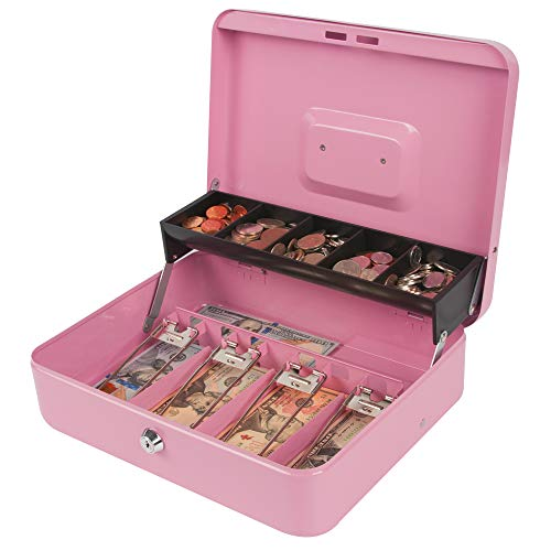 Kyodoled Large Locking Cash Box with Money Tray and Lock, Metal Money Box Safe, Cash Register,5 Compartments Cantilever Tray 4 Spring Loaded Clips for Bills,11.81Lx 9.45Wx 3.54H Inches,Pink X Large