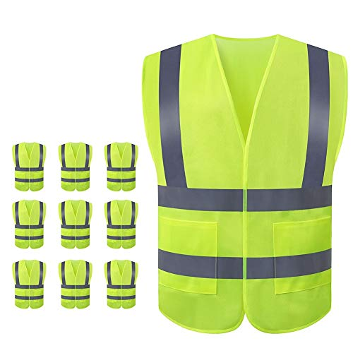 JSungo High Visibility Safety Vest 10 Pack, ANSI Class 2 Identification Security Vest with 2 Inch Reflective Silver Strip, Velcro Construction Vest for Night Running, Jogging, Cycling Walking (Yellow)