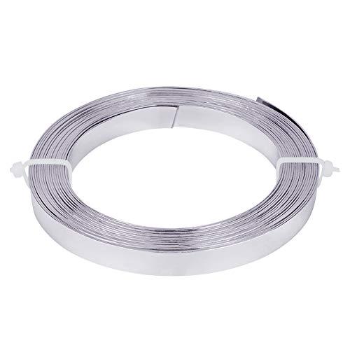 BENECREAT 5m Filo Piatto in Alluminio Largo 10mm Filo per Bigiotteria Accessori in Metallo per Artigianato - Argento