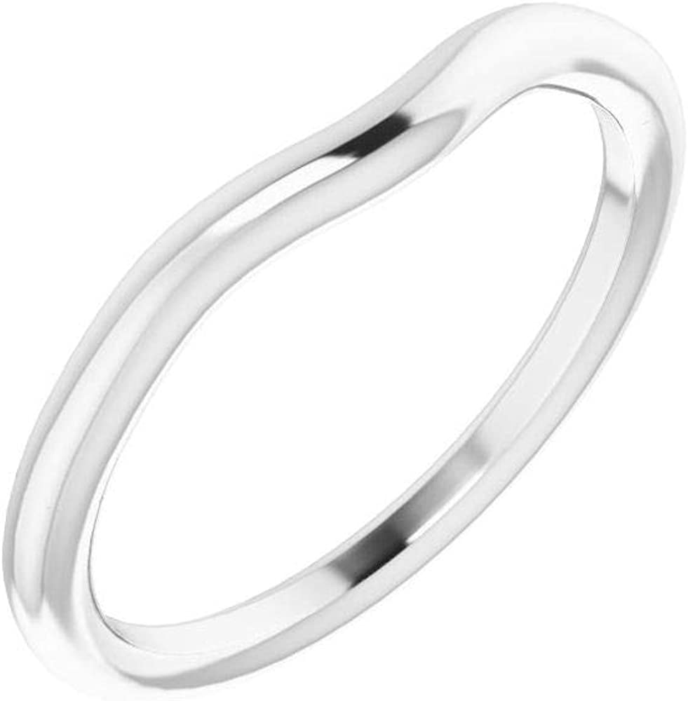 Solid 10K White Gold Curved Notched Wedding Ova 5 Super sale trend rank period limited x for 3mm Band