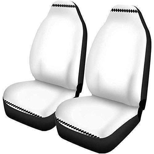 Olive Croft 2PCS Autositzbezüge Black Border von Ovals and Flowers Rim Monochrome Rahmen Car Decor Universal Fit für PKW-LKW-SUV