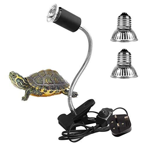 Lámpara de calor de tortuga, 25 W + 50 W, foco de calor para reptiles, anfibios, lagartos, tortuga, serpientes