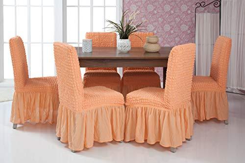 Mixibaby Lange Stretch Stuhlhusse Stuhlbezug Elastische Husse Dekoration Stuhl Husse aus Elastik-Stoff für universelle Passform, Farbe:apricot