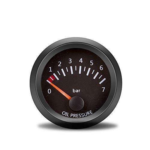 Arlt 2'52 mm 12V Coche indicador de manómetro Presión de aceite 0-7Bar Medidor de vehículos Black Shell