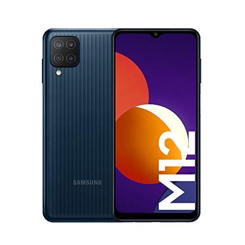 Samsung Smartphone Galaxy M12 con Pantalla Infinity-V TFT LCD de 6,5 Pulgadas, 4 GB de RAM y 64 GB de Memoria Interna Ampliable, Batería de 5000 mAh y Carga rápida Negro (ES Versión)