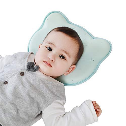 Babykissen mit Kissenbezug Kinderkissen Waschbar und Atmungsaktiv Kissen Neugeborene Zubehör 0-18M (Kitty)
