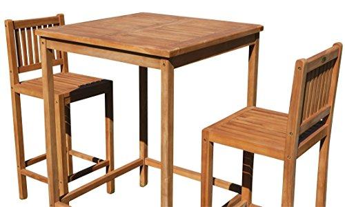 ASS BAR-Set - Teak Bartisch Bistrotisch Stehtisch 80x80cm mit 2X Barhocker Holz Modell: JAV-BIMA-SET80 von