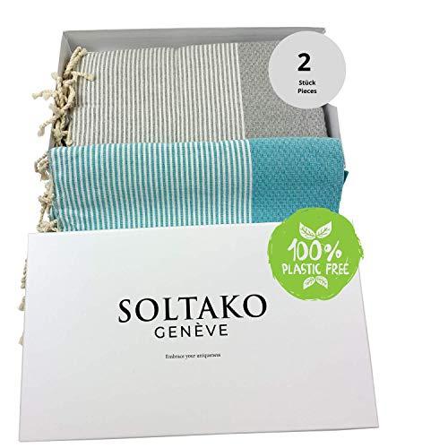 SOLTAKO - Telo mare Fouta XXL, set da 2 pezzi, 100 x 200 cm