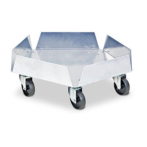 Transportroller Edelstahl, für Kunststofftonnen mit Ø 420 mm, Tragkraft 250 kg, mit verzinkten Lenkrollen und 5 schwarzen Kunststoffrädern Ø 75 mm