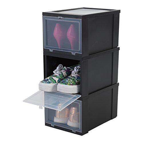 Amazon Basics Shoes Box EUDF-S Lote de 3 Cajas de Almacenamiento para los Zapatos, Negra, 9 L, 31 x 22 x 18 cm