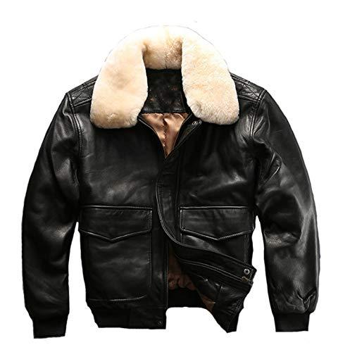 XSQR echt lederen Flight pak jas wol kraag schapenvacht Air Force pak lederen jas jas S-XXL zwart