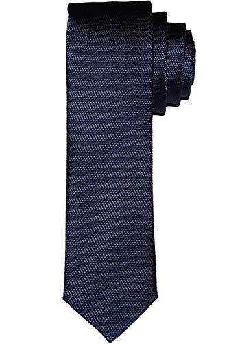 OLYMP Krawatte super slim aus reiner Seide Nano-Effekt Struktur dunkelblau