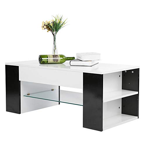 Greensen Tavolino Tavolo da Salotto Bianco con vano Contenitore Laterale, tavolino da Salotto con ripiano in Vetro, tavolino da tè tavolino Design Moderno Tavolo in Legno per Soggiorno Ufficio Camera