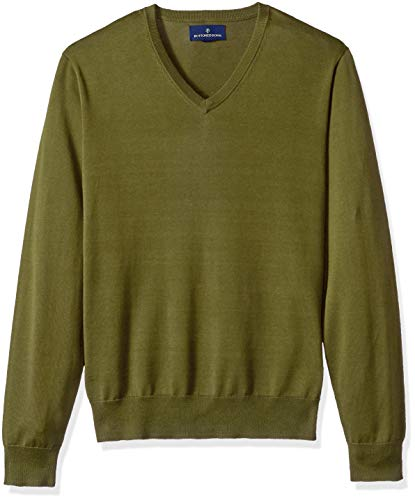 BUTTONED DOWN Men's Supima Cotton Lightweight V-Neck Sweater, olive, Large