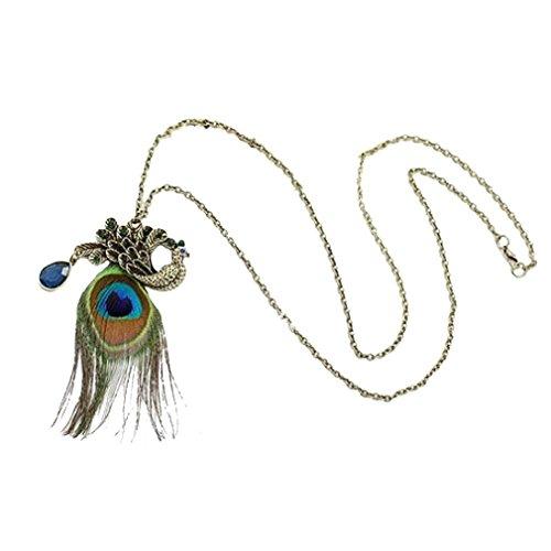 Yazilind Pfau Feder Lange Halsketten Schellfisch Aussagen Kristall Kragenchoker Chunky Für Frauen Colorful (Pfauenfeder Halskette)