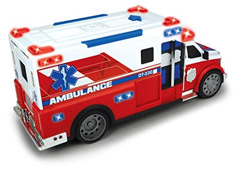 Dickie Toys Krankenwagen, Rettungsfahrzeug, Ambulanzwagen, Rettungsdienst, Spielzeugauto, Licht & Sound, Heckklappe zum Öffnen, Tragbahre, 33 cm, für Kinder ab 3 Jahren