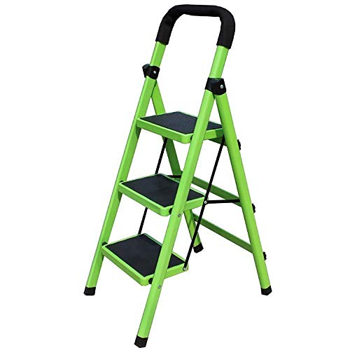 GUOXY Multifunktions-3-Stufenleiter Faltenden Hauptstufenleiter, Tragbares Metall Weit Pedal Leiter, Küche Büro Garage Ladder