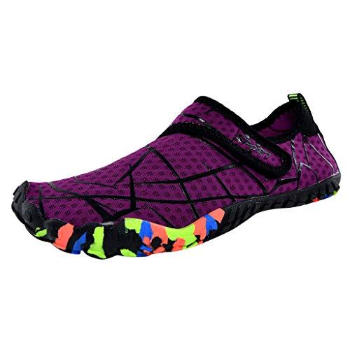Whyeasy Bluestercool Chaussures d'eau Unisexes à Couple Séchage Rapide Printemps Été Piscine Plage Nager Plongée Shoes Chaussures Aquatiques(Pourpre,38)