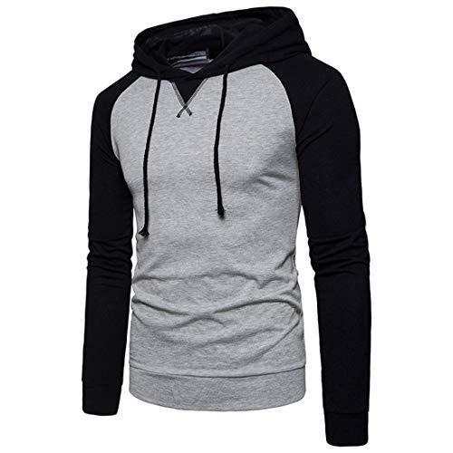MENHG Men's Hip Hop Raglan Contrast Color Hoody Hooded Pullover Sweater Sweatshirt Jacket Men Long Sleeve Drawstring Warm Lightweight Fleece Jumper Sports Fitness Hoodies Tops Blouse Cardigan Shirt