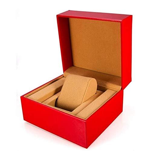 Cartones para embalaje Caja de reloj Caja de reloj para amantes Single Slot Watch Storage Display Case PU Cover Gran regalo (Color: Rojo, Tamaño: 14X10X16CM) Embalaje Caja de cartón