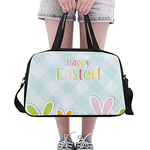 Plsdx Frohe Ostern Dekor für Kinder benutzerdefinierte große Yoga Gym Totes Fitness Handtaschen Reise Seesäcke mit Schultergurt Schuhbeutel für die Übung Sport Gepäck für Mädchen Mens Womens Outdoor