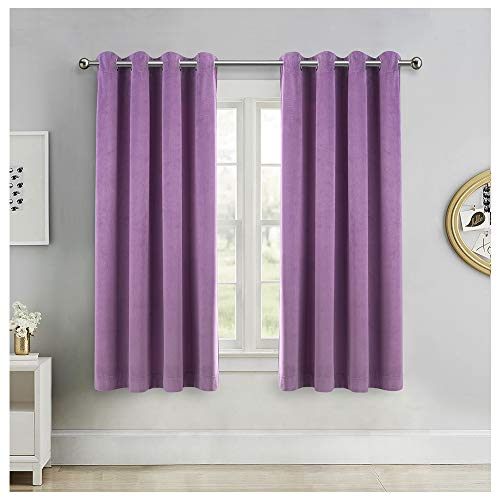 SINGINGLORY Purple Velvet Curtains 52 x 63 Inch, Blackout Thermal Insulated Grommet Window Curtain 2 Panels Set for Bedroom and Living Room (W52 xL63, Purple)