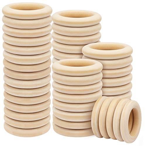 BELLE VOUS Natürliche Holzringe (50er Pack) - 70mm Außendurchmesser mit 50mm Innendurchmesser - Unbehandelter Holzring für Kunst & Handwerk, DIY, Sc hmuckherstellung, Ring-Anhänger-Verbindungen
