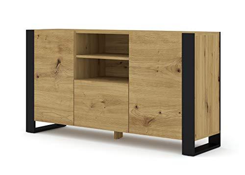 Mondi - Cómoda para TV (158 cm, madera de roble artesanal), color negro