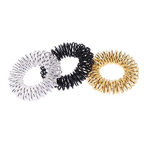 HEALLILY 3Pcs Fidget Rings Anillos de Acupuntura Anillo Sensorial de Oro/Plata/para Liberar El Estrés