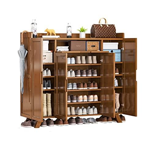 QIFFIY Zapatero para entrada en casa, gran capacidad, zapatero para porche, balcón, armario de almacenamiento de madera maciza