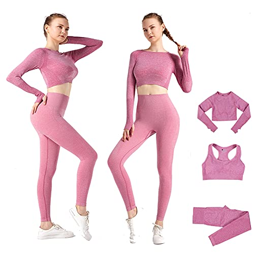 DONYKARRY 3set di Abbigliamento Sportivo da Palestra Senza Cuciture, Yoga Gym Leggings da Yoga a Vita alta e Reggiseno Sportivo e Top Sportivo, Yoga Gym Abbigliamento Sportivo