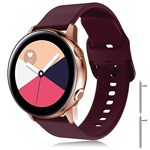 TOPsic Correa Galaxy Watch Active 2 40mm 44mm/Active/Galaxy Watch 42mm/Gear S2 Classic/Gear Sport/Vivomove/HR/Vivoactive 3/Forerunner 245/645, 20mm Silicona Banda de Reemplazo Pulsera