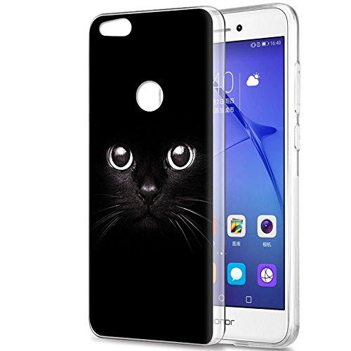 Eouine Funda Huawei P8 Lite 2017, Cárcasa Silicona 3D Transparente con Dibujos Diseño Suave Gel TPU [Antigolpes] de Protector Bumper Case Cover Fundas para Movil Huawei P8Lite 2017 (Gato Negro)