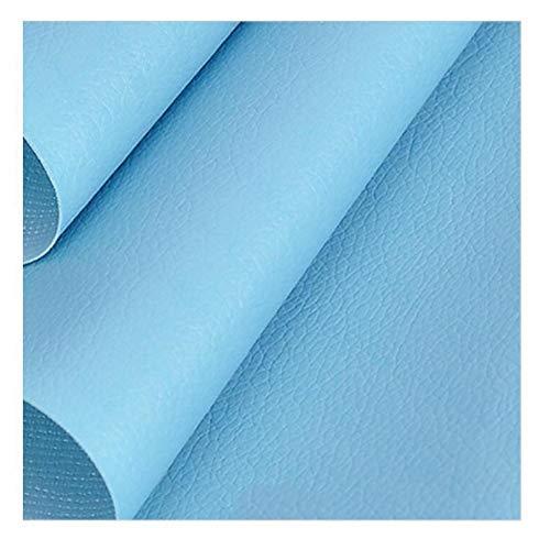 SSYBDUAN Möbelstoff Premium Bezugsstoff Zum Kunstleder Meterware , breit Polsterstoff Bezugsstoff Lederoptik,Dunkel, Hellblau, 1,38 × 1 m (4.5ft × 3.3ft)