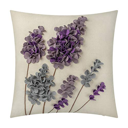 JWH 3D Lavender Flowers Accent Pillow Case Handmade Wool Linen Cushion Cover Home Sofa Car Bed Living Room Office Chair Decor Pillowcase Gift 18 x 18 Inch