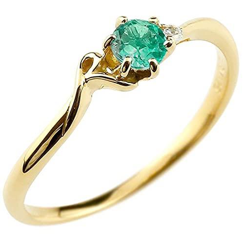 [アトラス]Atrus 指輪 レディース 10金 イエローゴールドk10 エメラルド ダイヤモンド イニシャル ネーム R ピンキーリング 華奢 アルファベット 5月誕生石 6号